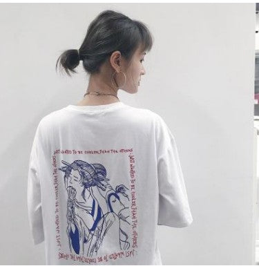 Japanese Geisha Printing Loose Fit Short Sleeved T-shirt