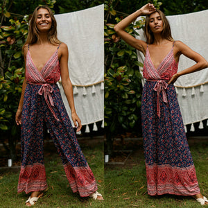 Hot SaleFloral Print Backless Strapped Jumpsuit