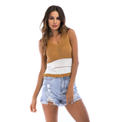 V-neck Sleeveless Hollow out Knitted Blouse tops