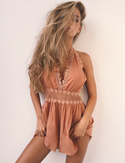New lace v-neck, sexy  backless jumpsuit