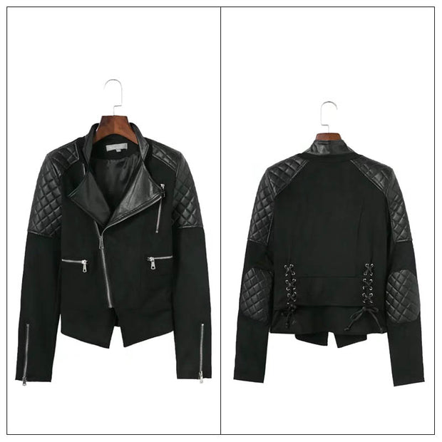 2018 autumn and winter new European station fashion diagonal zipper solid color leather tie rope suede jacket jacket