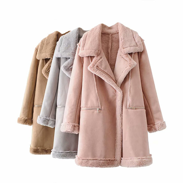 Women's Winter Suede Leather Jacket Motorcycle WomenThicken Lambswool Fur Long Leather Coat Female Pink Warm Outerwear Womens