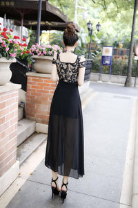 Europe and the United States word collar strapless sexy double shoulder lace chiffon stitching dress