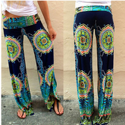 Women Printed Floral Wide Leg Long Stretch Pants