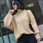 Solid Color half-neck sweater