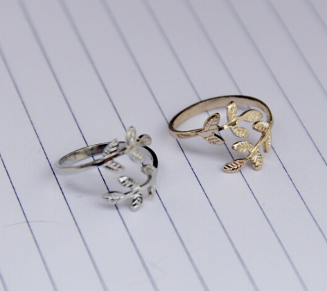 Grace timlee r012 Free Shipping Fashion Leaf Small Finger Rings, Fashion Jewelry Wholesale