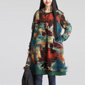 Large size women's loose retro fat M national style casual cotton and linen printed long-sleeved dress