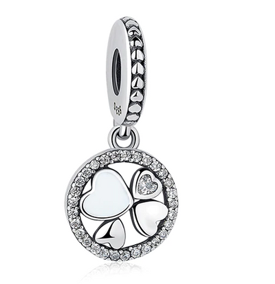 S925 sterling silver with zircon love clover beads