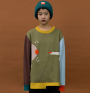Autumn Long Sleeve Color Matching Knitted Sweater
