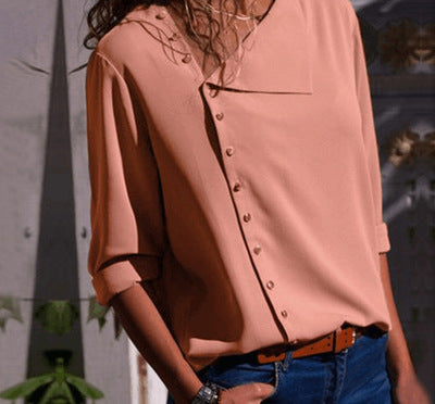 Solid irregular oblique collar long-sleeved blouse