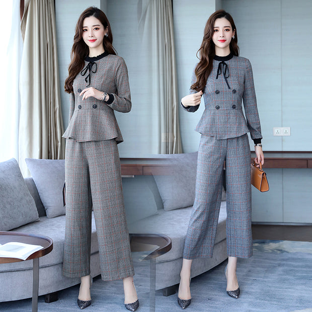 Double-breasted Fashionable Temperament Fashion Casual Broad-legged Pants 9-minute Pants Suit/Skirt Fall 2018