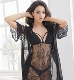 Women Lace Sheer Sexy Pajama Set With Thong