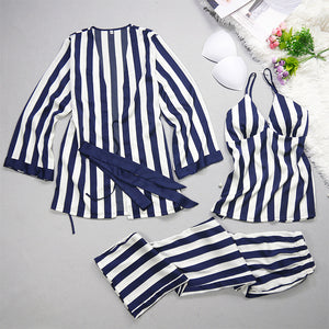 Ladies' pajamas summer leisure sexy ice silk stripes, suspenders, trousers, nightgowns, three sets of new silk pajamas.