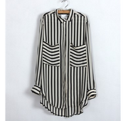 Striped loose double pocket shirt