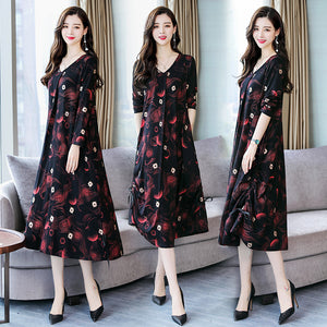 Plaid Stitching Fashion Casual Long-sleeve Dress