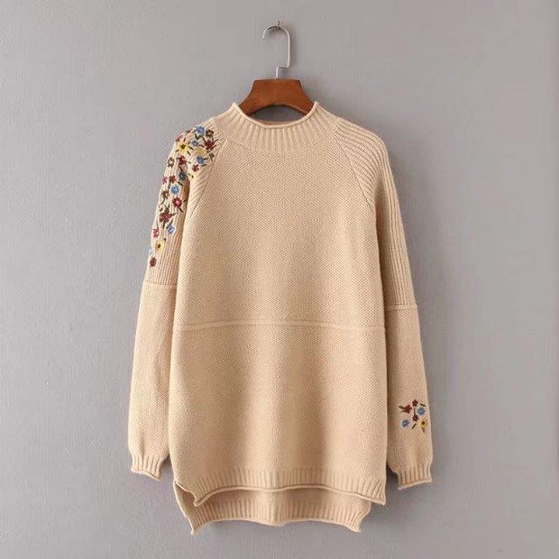 Half Turtleneck Floral Knitted Sweater Pullover