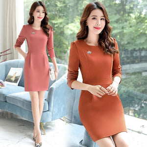 Mid-rise Solid Color Long Sleeve Pencil Dress