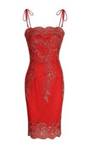 Strapped Embroidery Lace Trimmed Bodycon Dress