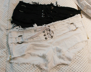 Lace-up Ripped Shorts For Women