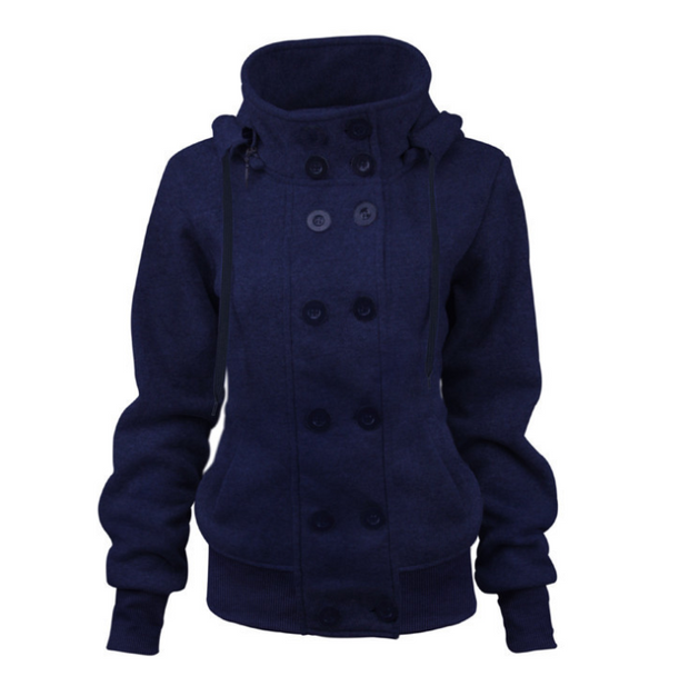 Double-breasted Detachable Hooded Jacket
