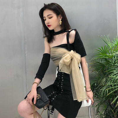 New style of sexy small crowd Hong Kong flavor retro personality cool temperament mesh stitching T-shirt blouse woman