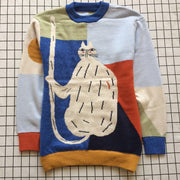 Childlike cat stitching color loose pullover sweater