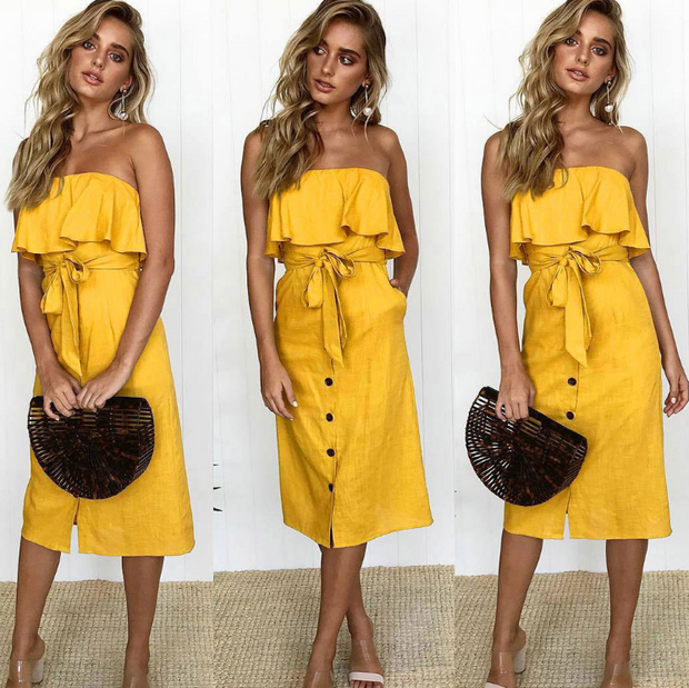 tube top ruffled button dress summer solid color