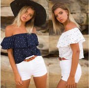 Off Shoulder Polka Dot Blouse