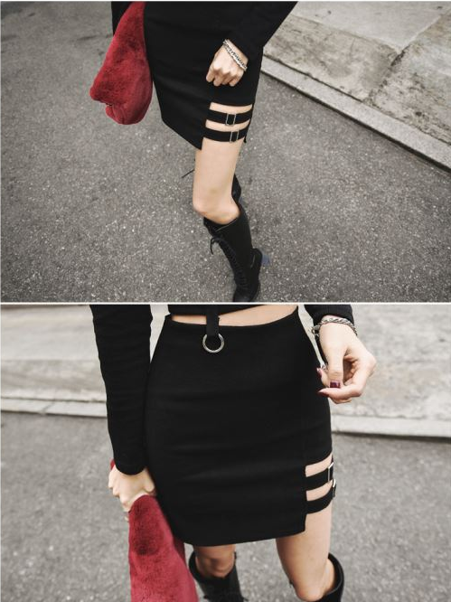 2018 Women Summer Harajuku Straight Leg Hollow Out Skirt Female Sexy Mini Skirt