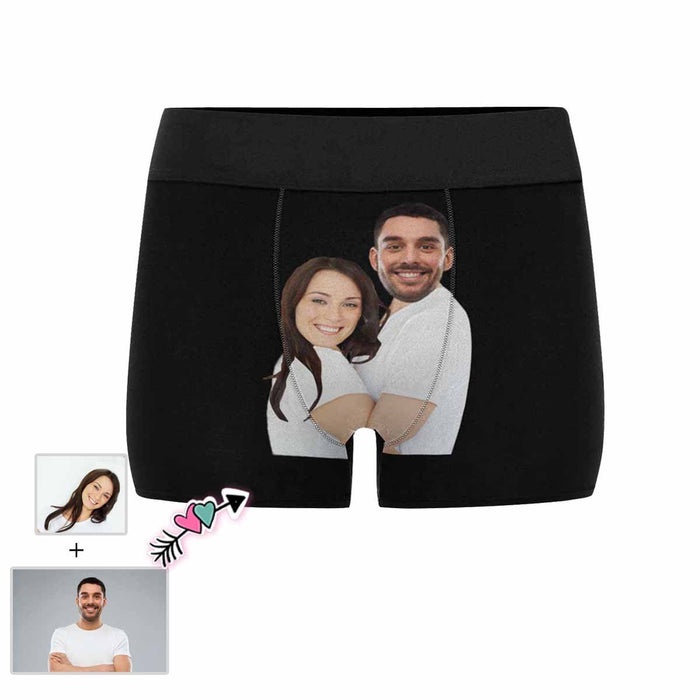 Custom Face Couple Hug Black Men's All-Over Print Boxer Briefs