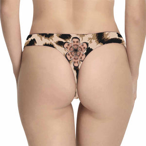 Custom Husband Face Leopard Stripes Women's Classic Thong