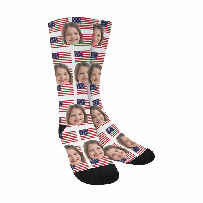 Custom Photo & Flag Sublimated Crew Socks