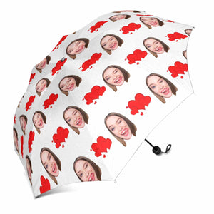 Custom Face Photo And Love Heart Print Sun & Rain Foldable Umbrella - myphotowears