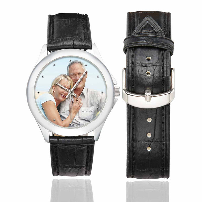 Custom Photo Women's Classic Leather Strap Watches - Couple