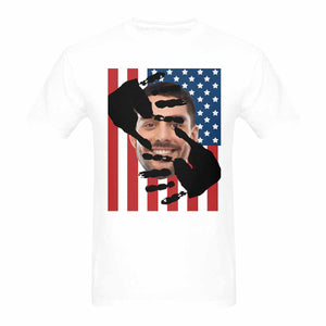 Custom Photo Men's Gildan Heavy Cotton T-Shirt-Face & American Flag - myphotowears