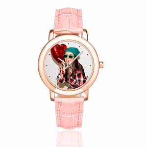 Custom Photo Women's Rose Gold-plated Leather Strap Watch-Girl - myphotowears