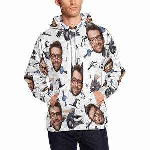 Custom Photo & Demon Men's Hoodie Personalize Halloween Hoodie Pullove - myphotowears