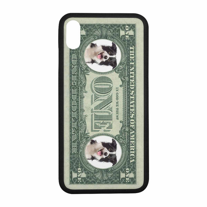 Custom Photo Rubber Case for Iphone-Dog's Photo & Dollar Background