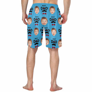Custom Kid's Face And 'BEST DAD' Men's Swim Trunk Father's Day Gift - myphotowears