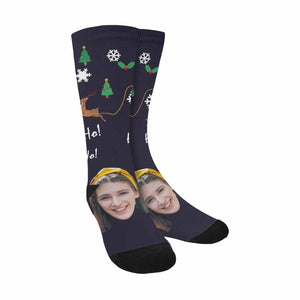 Custom Face & Reindeer Print Sublimated Crew Socks - myphotowears