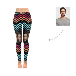 Custom Husband Face Wave Line All-Over Low Rise Leggings