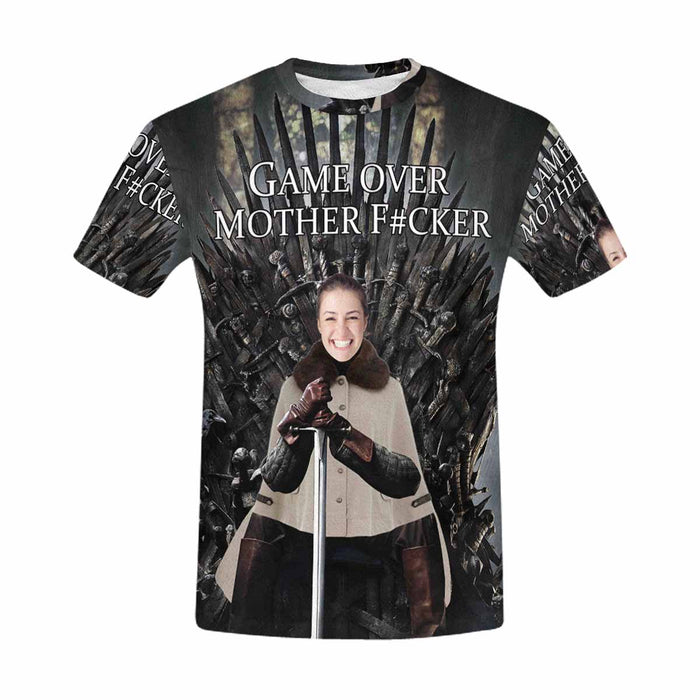 "Custom Face &  ""GAME OVER MOTHER F#CKER"" Men's T-shirt"