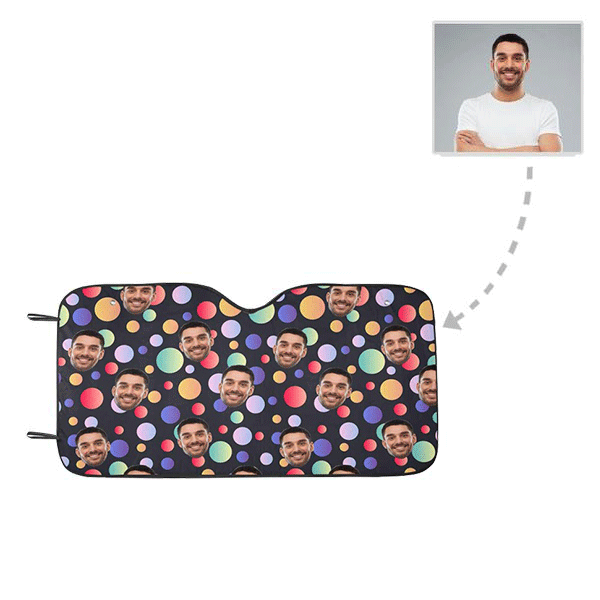 Custom Face Colorful Bubble Auto Sun Shade