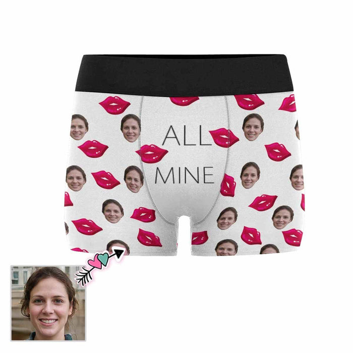 Custom Girlfriend Face Red Lip Men's All-Over Print Boxer Briefs