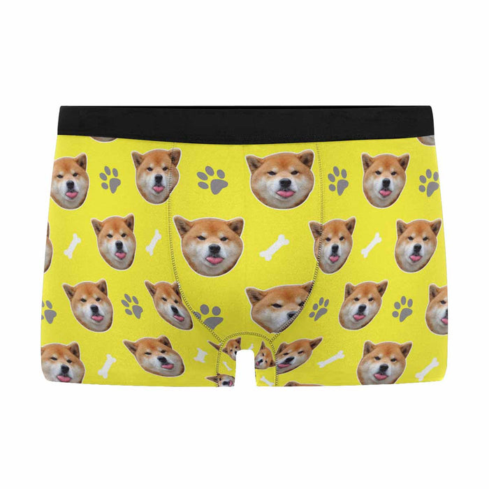 Custom Dog Photo & Paw Boom Print Men's Boxer
