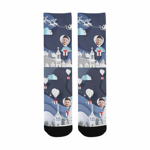 Custom Photo & Christmas Night Print Socks - myphotowears