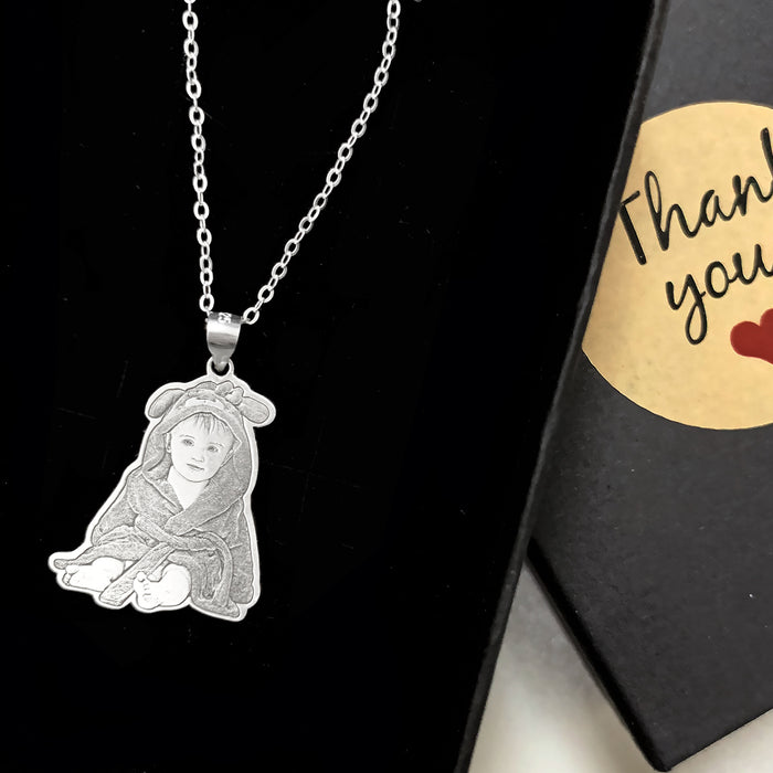 Custom Face Photo Engraved Tag Sliver Necklace