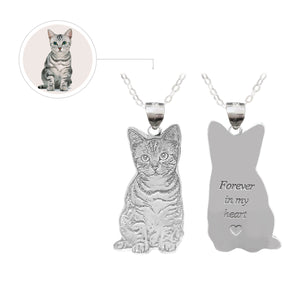 Custom Cat Photo Engraved Tag Silver Necklace - myphotowears