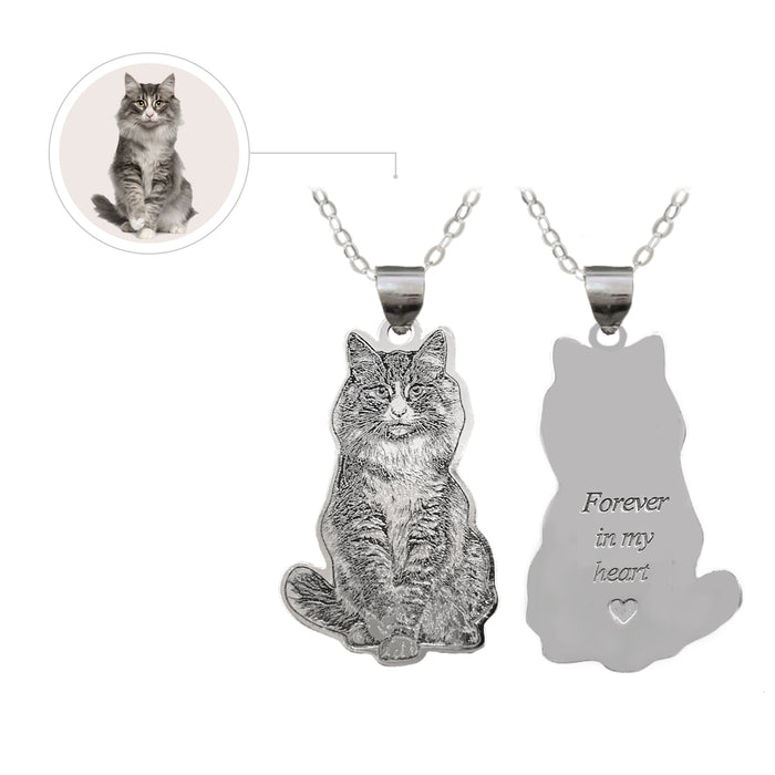 Custom Cat Photo Engraved Tag Silver Necklace