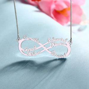 Personalized Infinity Six Names Sterling Silver  Necklace Necklace - myphotowears